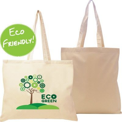 Picture of 10OZ ECO FRIENDLY NATURAL COTTON CANVAS SHOPPER TOTE BAG with Gusset