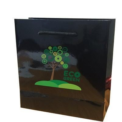 Picture of WALTON GLOSS BLACK LAMINATED MINI GIFT CARRIER BAG