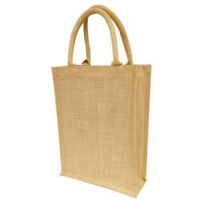 Picture of OVERSIZE A4 GIFT NATURAL JUTE SHOPPER TOTE BAG with 40cm Handles