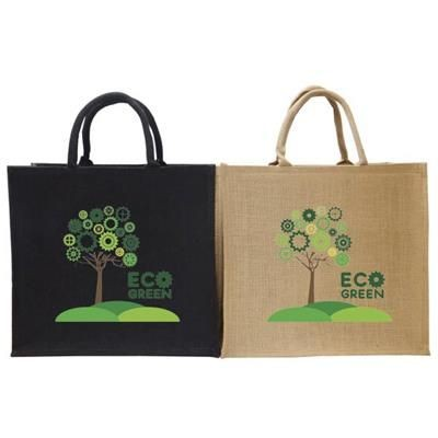 TATTON JUTE CARRIER BAG FOR LIFE in Black