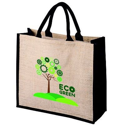 Picture of TATTON NATURAL JUTE SHOPPER TOTE BAG FOR LIFE with Dyed Black Gusset