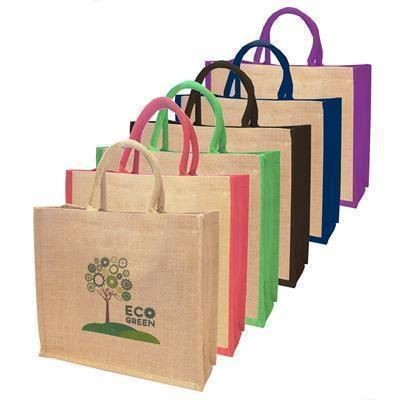 Picture of NATURAL JUTE SHOPPER TOTE BAG with Dyed Gusset
