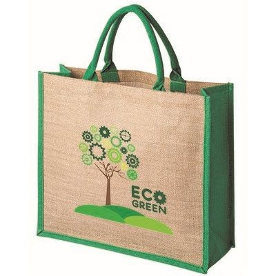 Picture of TATTON NATURAL JUTE SHOPPER TOTE BAG FOR LIFE with Dyed Green Gusset