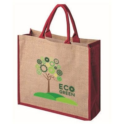 Picture of TATTON NATURAL JUTE SHOPPER TOTE BAG FOR LIFE with Dyed Red Gusset
