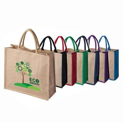 Picture of TATTON JUTE TOTE SHOPPER TOTE BAG FOR LIFE with Dyed Gusset & Handles