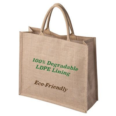 Picture of 100% DEGRADABLE NATURAL TATTON JUTE SHOPPER TOTE BAG FOR LIFE with Degradable Lining