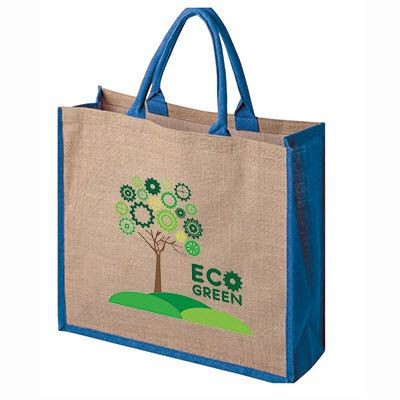 Picture of TATTON JUTE TOTE SHOPPER TOTE BAG FOR LIFE with Coloured Gusset & Handles
