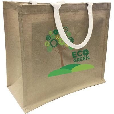 Picture of LARGE NATURAL JUTE ECO SHOPPER TOTE BAG with White Handles