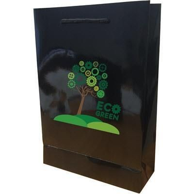 Picture of WALTON GLOSS BLACK LAMINATED PAPER CARRIER BAG