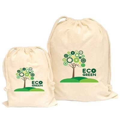 Picture of 5OZ LARGE NATURAL DRAWSTRING COTTON POUCH