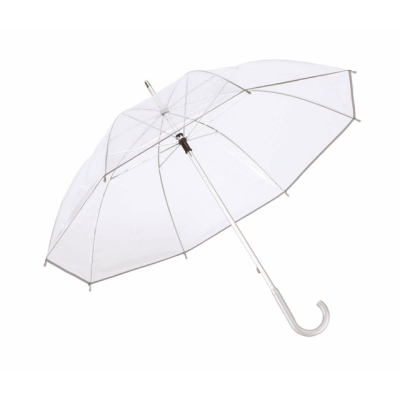 Picture of CLEAR TRANSPARENT STICK UMBRELLA with Aluminium Metal Silver Metal Frame