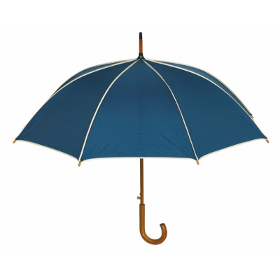 Picture of WALTZ AUTOMATIC WOOD SHAFT UMBRELLA in Navy Blue with Beige Trim