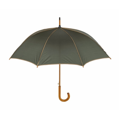 Picture of WALTZ AUTOMATIC WOOD SHAFT UMBRELLA in Dark Green with Beige Trim