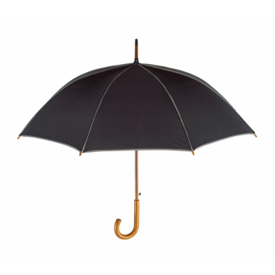 Picture of WALTZ AUTOMATIC WOOD SHAFT UMBRELLA in Black with Grey Trim
