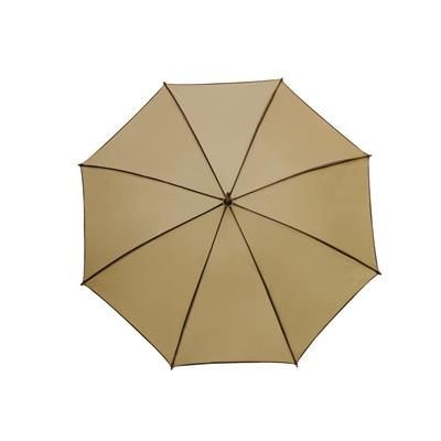 Picture of WALTZ AUTOMATIC WOOD SHAFT UMBRELLA in Beige with Brown Trim