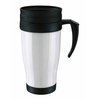 Picture of THERMAL INSULATED PLASTIC TRAVEL MUG CUP with Lid in White