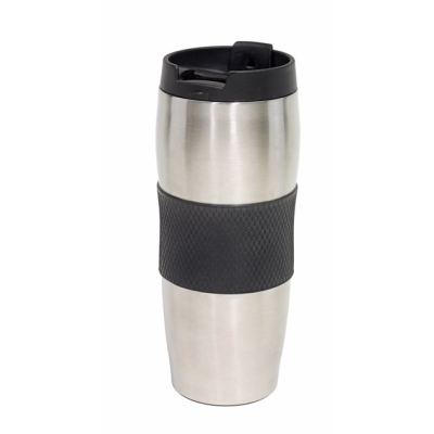 Picture of AU LAIT DOUBLE WALLED STAINLESS STEEL METAL TRAVEL MUG FLASK in Black & Silver