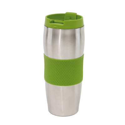 Picture of AU LAIT DOUBLE WALLED STAINLESS STEEL METAL TRAVEL MUG FLASK in Green & Silver