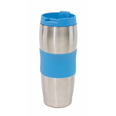 Picture of AU LAIT DOUBLE WALLED STAINLESS STEEL METAL TRAVEL MUG FLASK in Blue & Silver