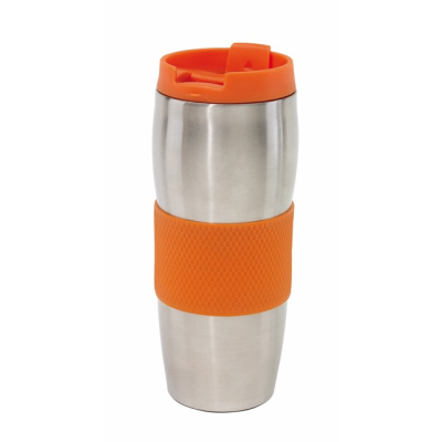 Picture of AU LAIT DOUBLE WALLED STAINLESS STEEL METAL TRAVEL MUG FLASK in Orange & Silver