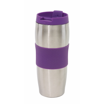 Picture of AU LAIT DOUBLE WALLED STAINLESS STEEL METAL TRAVEL MUG FLASK in Lilac & Silver