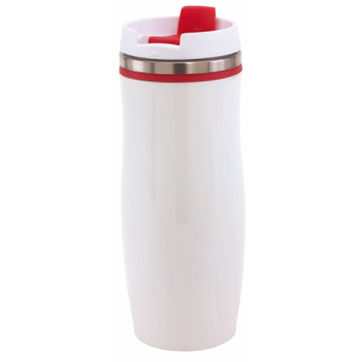 Picture of CREMA DOUBLE-WALLED TRAVEL MUG in Red