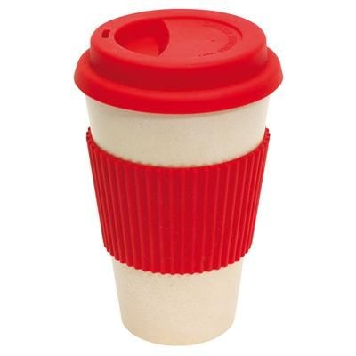Picture of BAMBOO ECO COFFEE TRAVEL MUG in Red