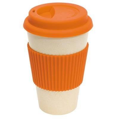 Picture of BAMBOO ECO COFFEE TRAVEL MUG in Orange