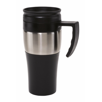 Picture of TRAVEL MUG in Black with Stainless Steel Metal Ring