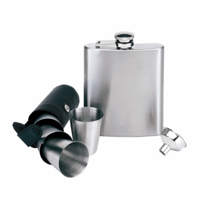 Picture of HIP FLASK SET in Stainless Steel Metal