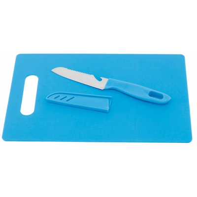 Picture of SUNNY KITCHEN CHOPPING BOARD & KNIFE SET in Blue