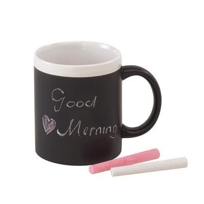 Picture of HOT MESSAGE BLACKBOARD CERAMIC POTTERY MUG in Black & White
