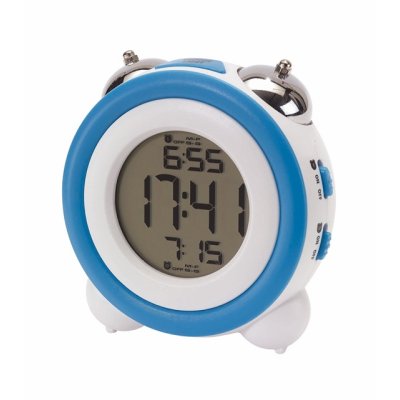 Picture of MODERN RETRO ALARM CLOCK in White & Blue