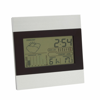 Picture of SHINY DAY WEATHER STATION CLOCK in Silver & Black