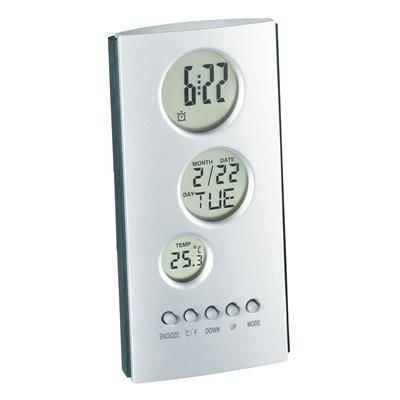 Picture of TRIPLE LCD TOWER ALARM CLOCK in Silver