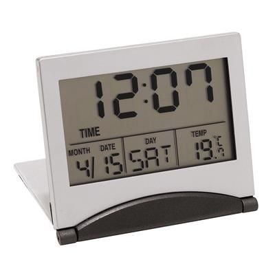 Picture of ASTER FOLDING LCD TRAVEL ALARM CLOCK in Silver