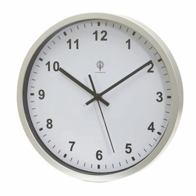 Picture of NEPTUNE RADIO REMOTE CONTROLLED WALL CLOCK in Silver & White