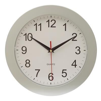 Picture of ROUND METAL WALL CLOCK in Silver & White