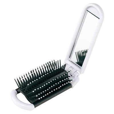 Picture of FOLDING HAIR BRUSH & MIRROR in White & Black