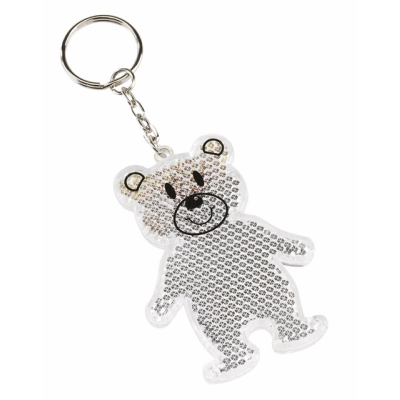 Picture of TEDDY BEAR REFLECTOR KEYRING in White