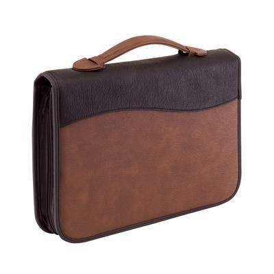 Picture of AMBASSADOR ZIP AROUND DOCUMENT PORTFOLIO with Handle in Brown & Black