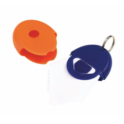 Picture of NEAT MICROFIBRE LENS CLEANING CLOTH KEYRING in Blue & Orange