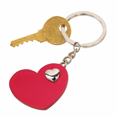 Picture of HEART in Heart Keyring in Red & Silver