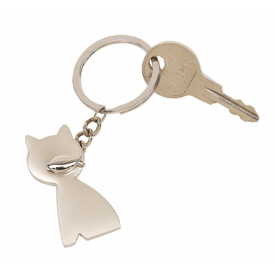 Picture of CAT KEYRING in Silver Metal
