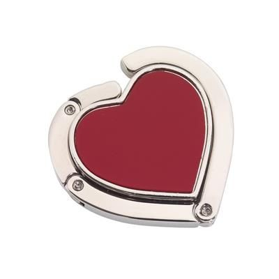 Picture of DESIRE HEART SHAPE HANDBAG HANGER HOOK in Red & Silver
