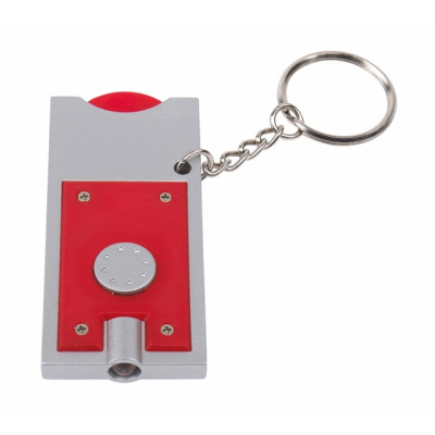Picture of LED LIGHT KEYRING & TROLLEY COIN in Silver & Red