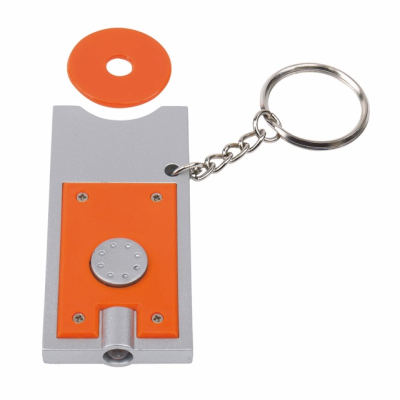 Picture of LED LIGHT KEYRING & TROLLEY COIN in Silver & Orange
