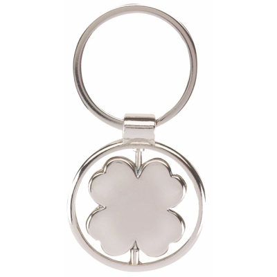 Picture of SPINNING CLOVER LEAF KEYRING in Silver