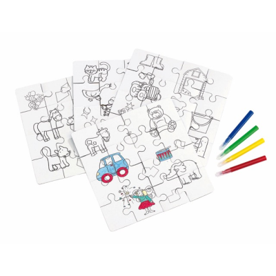 Picture of PAINT YOUR PICTURE CHILDRENS JIGSAW PUZZLE COLOURING SET