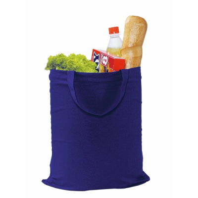 Picture of COTTON SHOPPER TOTE BAG with Short Handles in Blue